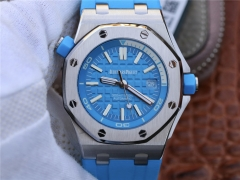 Audemars Piguet Royal Oak Offshore Diver 15710ST.OO.A032CA.01 Stainless Steel Turquoise Blue Textured Dial 1:1 Best Edition on Turquoise Blue Rubber S