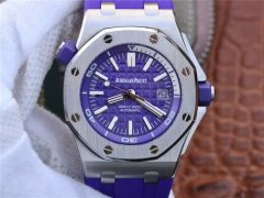 Audemars Piguet Royal Oak Offshore Diver 15710ST.OO.A077CA.01 Stainless Steel Purple Textured Dial 1:1 Best Edition on Purple Rubber Strap ETA 3120 Mi