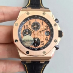 Audemars Piguet Royal Oak Offshore 26470OR.OO.A002CR.01 2014 Gold Theme Rosegold Case JF 1:1 Best Edition on Black Leather Strap ETA 3126 V2