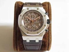 "Audemars Piguet Royal Oak Offshore 26470ST.OO.A820CR.01 Mega-Tapestry ""waffle"" design Chronograph JF 1:1 Best Edition Brown Dial on Brown Leather Stra"