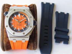 Audemars Piguet Royal Oak Offshore Diver 15710ST.OO.A070CA.01 Stainless Steel 2017 Orange Textured Dial JF 1:1 Best Edition on Orange Rubber Strap ETA
