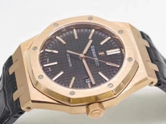 Audemars Piguet Royal Oak 37mm 15450 18K Rosegold Case & Bezel JF factory 1:1 Best Edition Black Dial on 18K Black Leather Strap ETA 3120