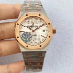 Audemars Piguet Royal Oak 37mm 15450 18K Rosegold Bezel Two Tone JF 1:1 Best Edition Silver Dial on Two Tone Bracelet ETA 3120