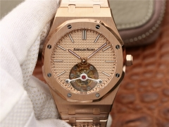 Audemars Piguet Royal Oak 26515OR.OO.1220OR.01 Real Tourbillon 18K Rosegold R8F 1:1 Best Edition Rosegold Dial On Stainless Steel Bracelet Asian Seagu