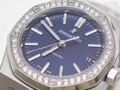 Audemars Piguet Royal Oak 15450 JF Stainless Steel & Diamonds Blue Dial Swiss 3120 ETA