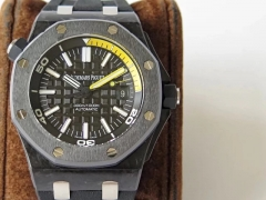 Audemars Piguet Royal Oak Offshore Diver JF 15706 Forged Carbon Black & Yellow Dial Swiss 3120 EAT