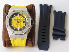 Audemars Piguet Royal Oak Offshore Diver 15710ST.OO.A051CA.01 Stainless Steel 2017 Yellow Textured Dial JF on Yellow Rubber Strap ETA 3120 (Free Rubbe