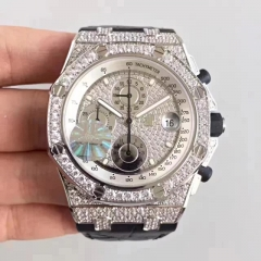 Audemars Piguet Royal Oak Offshore 26067BC.ZZ.D002CR.01 Chronograph Stainless Steel Full Paved Diamond JF Factory   1:1 Best Edition on Black Leather