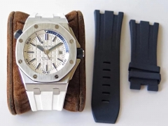 Audemars Piguet Royal Oak Offshore Diver 15710ST.OO.A010CA.01 Stainless Steel 2017 White Textured Dial JF Factory  1:1 Best Edition on White Rubber St