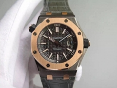 Audemars Piguet Royal Oak Offshore Diver 15709TR DLC Plated On Stainless Steel QEII CUP JF Best Edition on Gray Leather Strap eta 3120 V2