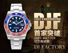 Rolex GMT Master II 116719 BLRO Pepsi 316L Stainless Steel Case DJ factory Best Edition REAL Red Blue Ceramic Insert Black Dial on Oyster Stainless St