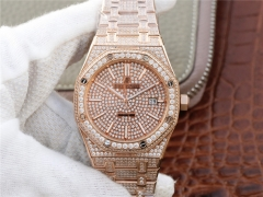 Audemars Piguet Royal Oak series 15400.OR starry diamonds table a small arrival loaded with 316L Rose gold cal.3120
