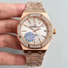 Audemars Piguet Royal Oak 15450 JF factory Rose Gold & Diamonds Silver Dial Swiss 3120