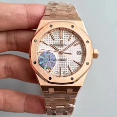 Audemars Piguet Royal Oak 15450 JF Factory  Rose Gold Silver Dial Swiss 3120