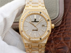 Audemars Piguet  Royal Oak series 15400.OR starry diamonds table a small arrival loaded with 316L gold cal.3120
