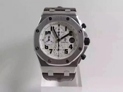 Audemars Piguet Royal Oak Offshore 26170ST.OO.D091CR.01 Chronograph Safari Stainless Steel JF 1:1 Best Edition White Dial on Brown Leather Strap ETA 7