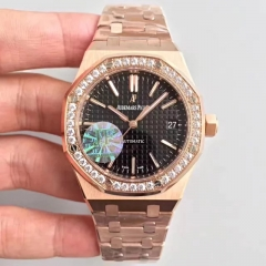 Audemars Piguet Royal Oak 37mm 15451 18K Rosegold Case Diamond Bezel JF 1:1 Best Edition Silver Dial on Rosegold Bracelet 3120