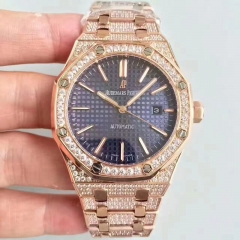 Audemars Piguet Royal Oak 15400 N Rose Gold & Diamond Blue Dial Swiss 3120 JH JF factory