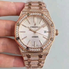 Audemars Piguet Royal Oak 15400 N JH JF factory Rose Gold & Diamond Silver Dial Swiss 3120