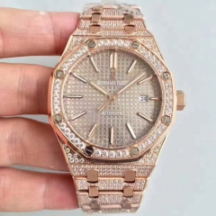 Audemars Piguet Royal Oak 15400 N Rose Gold & Diamond Grey Dial Swiss 3120 JH JF factory