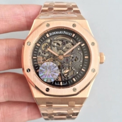 Audemars Piguet Royal Oak Double Balance Wheel Openworked 15407OR.OO.1220OR.01 JF Rose Gold Black Skeleton Dial Swiss 3132