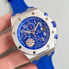 Audemars Piguet Royal Oak Offshore 26470ST.OO.A030CA.01 Chronograph 2018 SIHH Indigo Blue JF 1:1 Best Edition Blue Dial on Blue Rubber Strap 3126