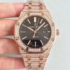 Audemars Piguet Royal Oak 15400 JH JF factory  Rose Gold & Diamond Back Dial Swiss 3120