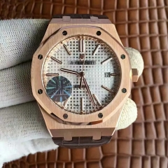 Audemars Piguet Royal Oak 41mm 15450 18K Rosegold Case & Bezel JF factory  1:1 Best Edition Silver Dial on 18K Brown Leather Strap 3120