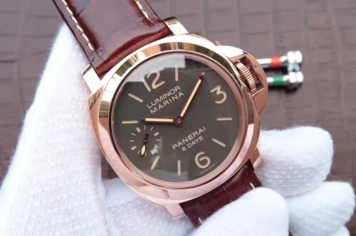 Panerai Luminor 8 Days Oro Rosso PAM511 ZF Factory  Rose Gold Brown Dial Swiss P5000