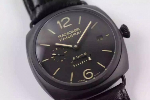 Panerai Radiomir 8 Days PAM 384 XF Factory  Black Ceramic Black Dial Swiss P2002