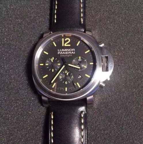 Panerai Luminor PAM356 Daylight Chronograph Stainless Steel Noob 1:1 Best Edition Black Dial on Black Leather Strap ETA7750