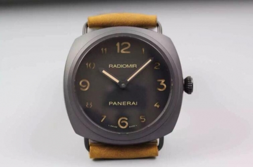 Panerai Radiomir PAM613 Q Real Ceramic Case V6F Best Edition on Brown Asso Strap A6497 Hand Winding