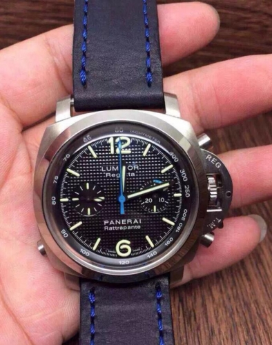 Panerai Luminor Regatta PAM286 Noob Factory Rattrapante Stainless Steel Black Textured Dial Noob 1:1 Best Edition on Blue Stitched Leather Strap A7750