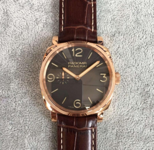 Panerai Radiomir PAM439 O 18 K Rosegold Case V6F 1:1 Best Edition Brown Dial on Brown Leather Strap P.999