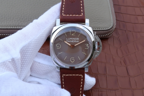 Panerai Luminor 1950 PAM663 R SF Best Edition Stainless Steel Brown Dial on Brown Leather Strap P.3000 Super Clone
