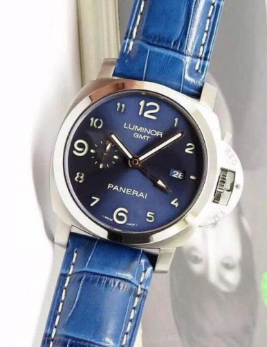 Panerai Luminor GMT PAM 437 ZF Factory  Stainless Steel Blue Dial Swiss P9100