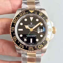 Rolex GMT-Master II 116713LN 2018 V7S 24K Yellow Gold Noob Factory Wrapped & Stainless Steel Black Dial Swiss 3186