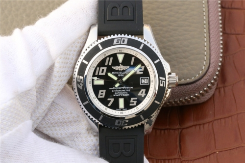 Breitling Superocean Chronometre Abyss A1736402 Stainless Steel Case GM Factory  1:1 Best Edition Black Dial White Inner Bezel On Black Rubber 2824