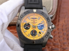 Breitling Chronomat MB0111C3-I531-262S Chronograph Blacksteel GF Factory  1:1 Best Edition Yellow Dial Black Sub Dial on Black Rubber Strap 7750