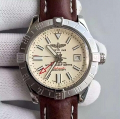 Breitling Avenger II GMT A3239011/C872/105X/A20BA.1 N Noob Factory Stainless Steel White Dial Swiss ETA 2836 Brown Leather