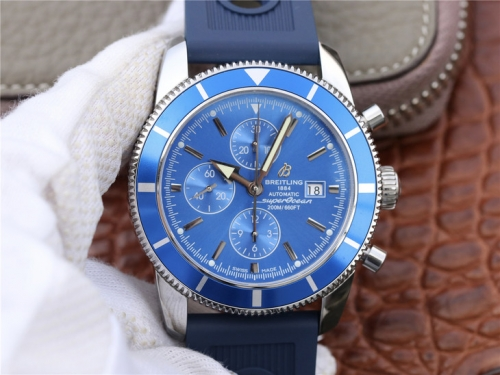 Breitling Superocean Heritage A1332016/C758-205S 46mm Chronograph Stainless Steel OM Factory 1:1 Best Edition Blue Dial On Blue Rubber Strap 7750