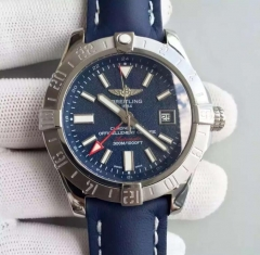 Breitling Avenger II GMT A3239011/C872/105X/A20BA.1 N Noob Factory Stainless Steel Blue Dial Swiss ETA 2836 Blue Leather