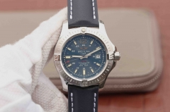 Breitling Colt Automatic A17388 Stainless Steel Case GF Factory  1:1 Best Edition Blue Textured Dial on Blue Leather Strap ETA 2824
