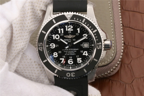 Breitling Superocean II A17392D8/C910/228S/A20SS.1 44mm Stainless Steel GF Factory  1:1 Best Edition black Dial On Blue Rubber Strap A2824 (Working He