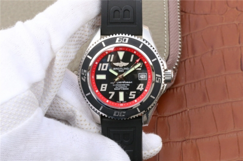Breitling Superocean Chronometre Abyss A1736402 Stainless Steel Case GM Factory  1:1 Best Edition Black Dial Red Inner Bezel On Black Rubber 2824