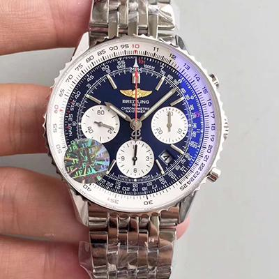 Breitling Navitimer AB012012/BB01 Chronograph Stainless Steel Case JF Factory 1:1 Best Edition Blue Dial on Stainless Steel Bracelet 7750 V2