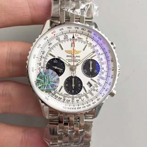 Breitling Navitimer AB012012 Chronograph Stainless Steel Case JF Factory 1:1 Best Edition White Dial on Stainless Steel Bracelet 7750 V2
