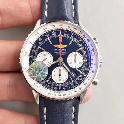 Breitling Navitimer AB012012/BB02 Chronograph Stainless Steel Case JF Factory 1:1 Best Edition Blue Dial on Blue Leather Strap A7750 V2
