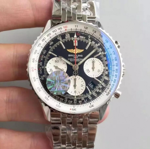 Breitling Navitimer AB012012/BB01Chronograph Stainless Steel Case JF Factory 1:1 Best Edition Black Dial on Stainless Steel Bracelet 7750 V2