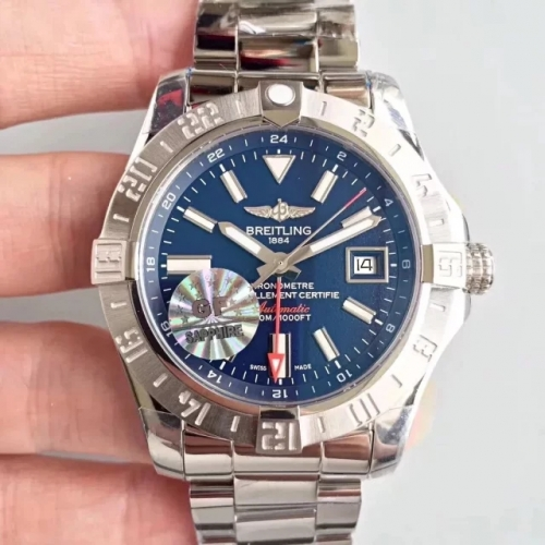 Breitling Avenger II A3239011 GMT Stainless Steel Case GF Factory  1:1 Best Edition Blue  Dial on Stainless Steel Bracelet ETA 2836